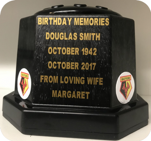 Watford F. C.  football personalised Grave pot